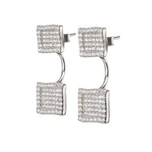 FOLLI FOLLIE - Ασημένια τετράγωνα σκουλαρίκια FOLLI FOLLIE