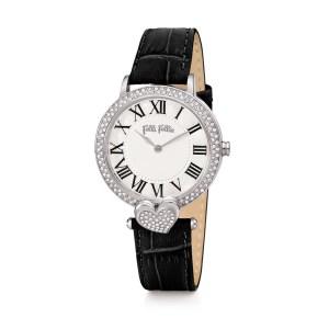 FOLLI FOLLIE - Γυναικείο ρολόι με δερμάτινο λουράκι FOLLI FOLLIE LOVE&FORTUNE μαύρο