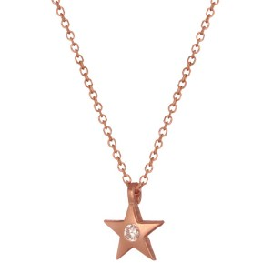 JEWELTUDE - Γυναικείο ασημένιο ρόζ επιχρυσωμένο κολιέ αστέρι