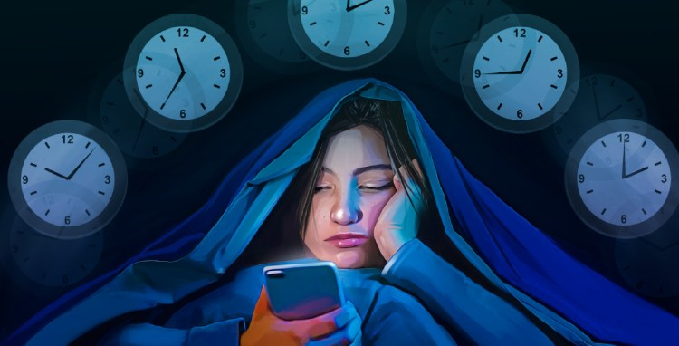A teenage girl checks her photo-sharing account throughout the night