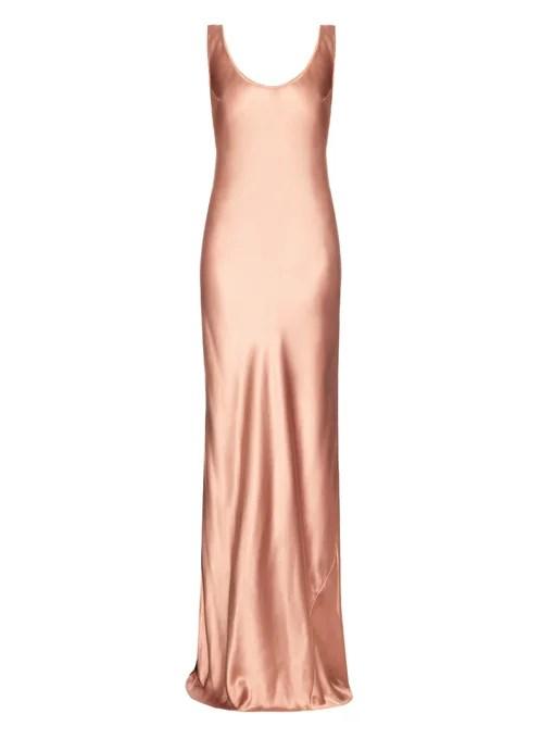 Galvan Bias-cut silk-satin gown