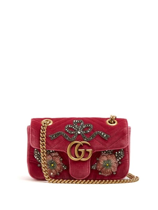 Gucci GG Marmont mini quilted-velvet cross-body bag
