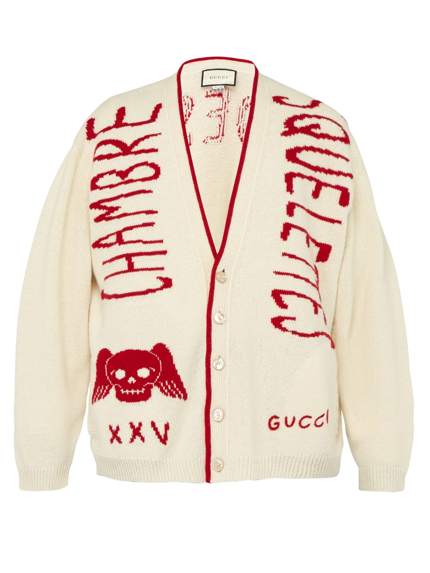 Chambre Obscure Def Chambre Skull Wool Varsity Cardigan Gucci Matchesfashion