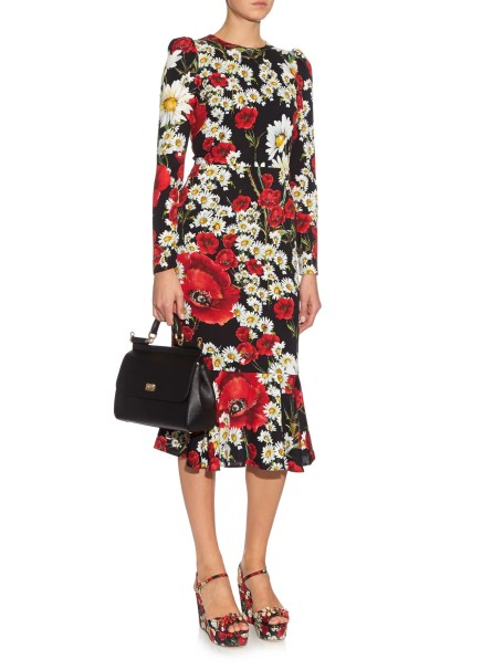 Red and White Poppy and Daisy Print Dress by Dolce & Gabbana
