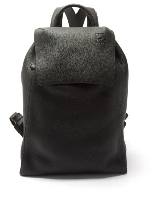Loewe - Logo-debossed Drawstring Leather Backpack - Mens - Black