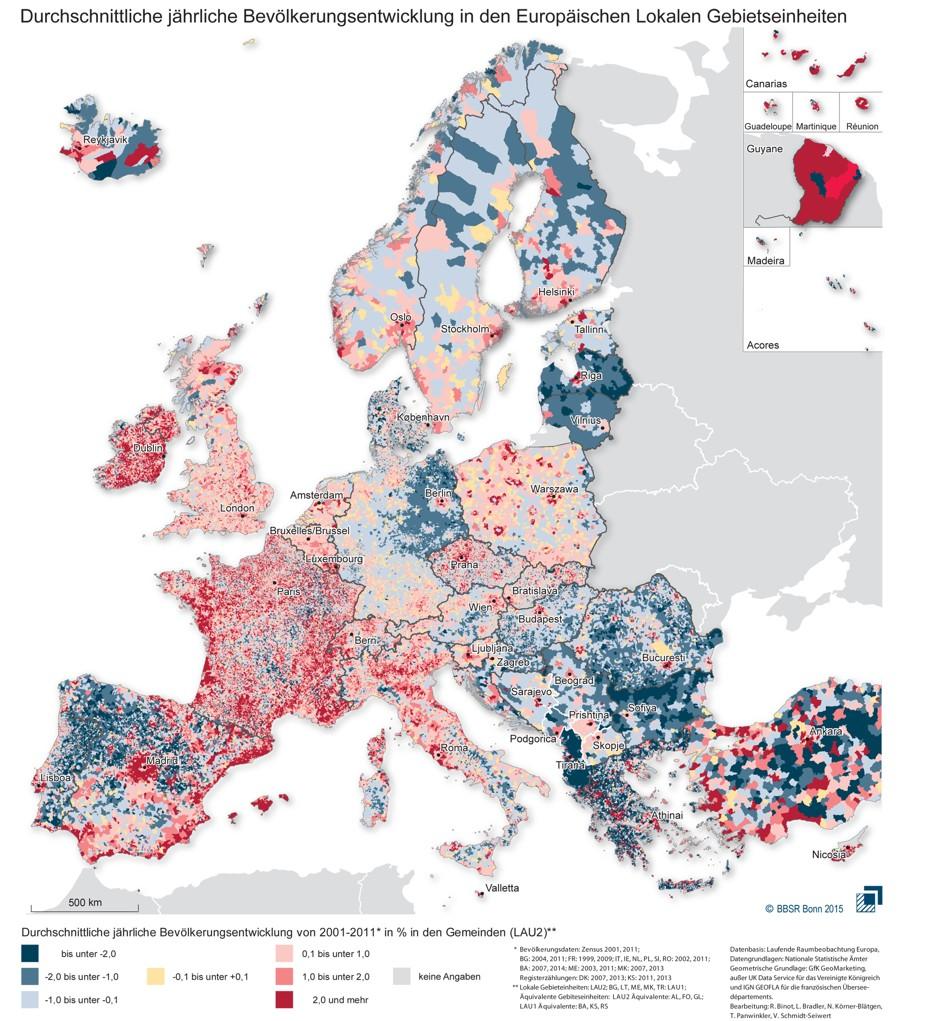European urbanization patterns: 2001-2010