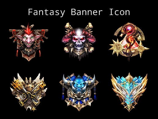 fantasy banner icon asset