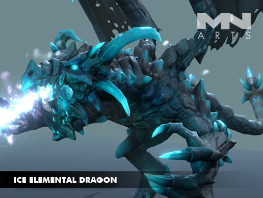 ice elemental dragon asset
