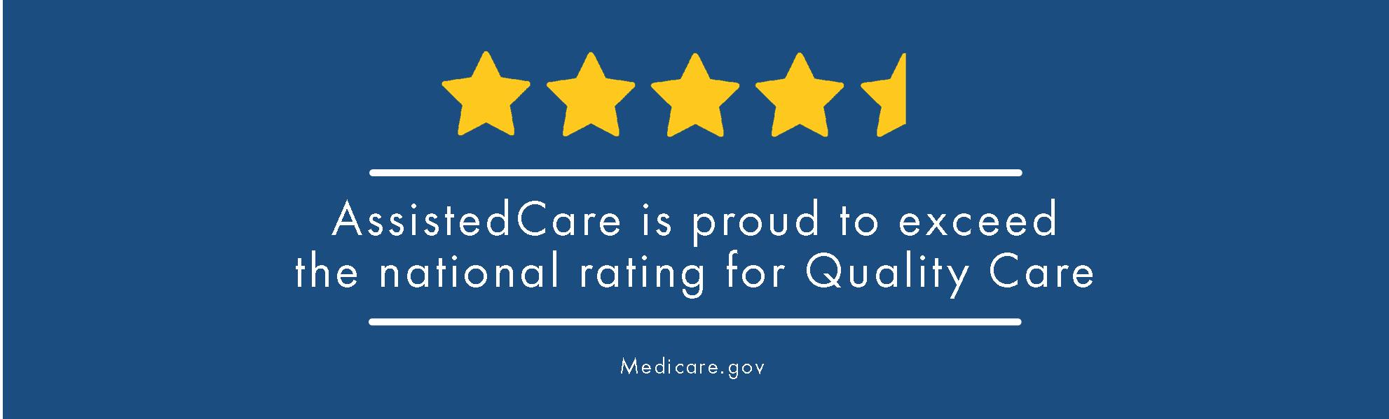 AssistedCare is proud to exceed the national rating for quality care. - medicare.gov