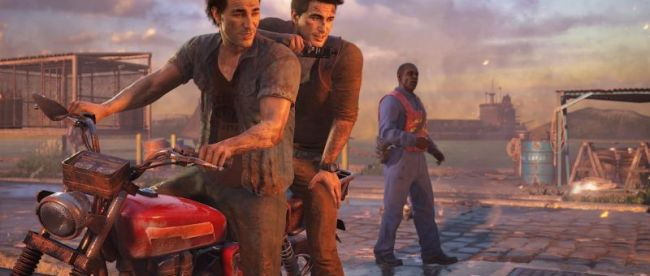 screenshot from uncharted 2. Two men on a motorcycle with a third person in the background.
