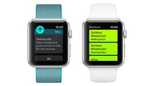 "two apple watches showing different screens. One shows ""time to roll! take a break and push around a little for one minute"". The other shows activity tracking options for wheelchair users - ""outdoor wheelchair walking pace"" and ""outdoor wheelchair running pace""."