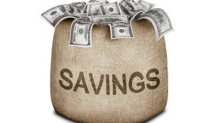 "a sack with the word ""savings"" printed on front is shown with dollar bills overflowing out of it."