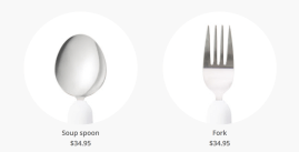 photo shows two attachments - soup spoon and fork. They are both priced at $34.95 each.