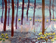 """painting titled """"Beauty in the Woods"""" by Genevieve Hoover. This painting is of a scene in a forest with trees and yellow flowers."""