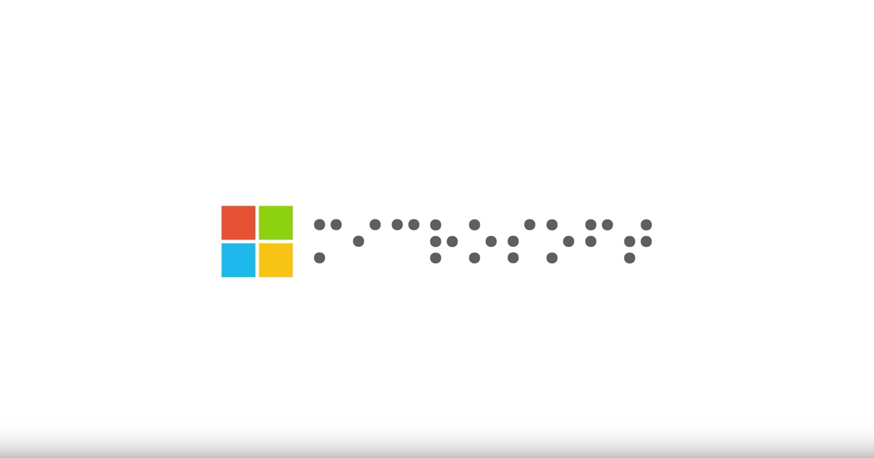 Microsoft logo in braille