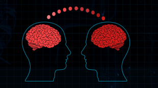 a graphic depicting two brains connected to each other. Two human outlines are shown facing each other. The connection between the two brains is shown via dots.