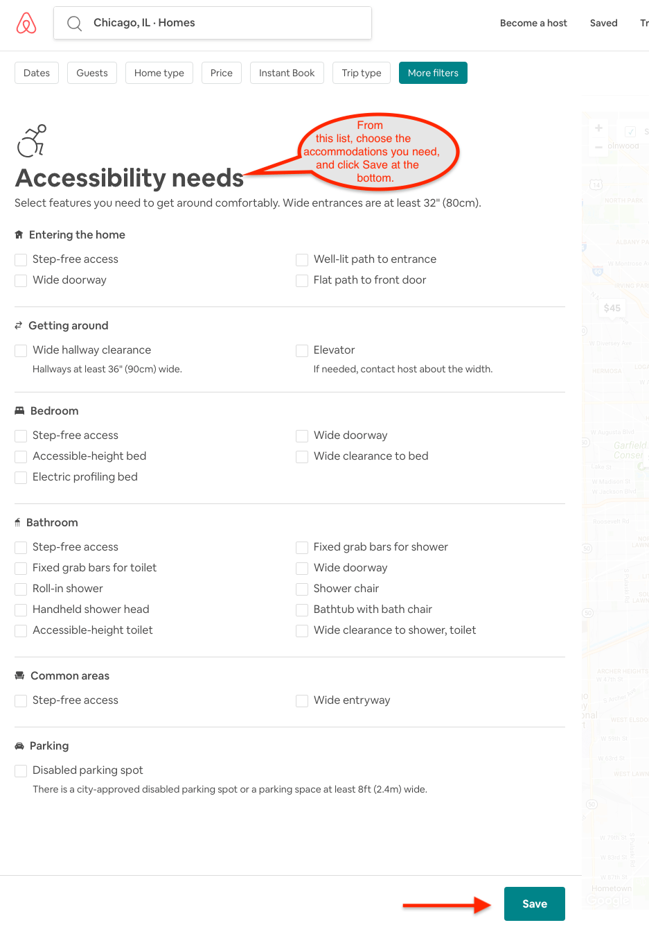 """choose all filters you require under """"accessibility needs""""."""