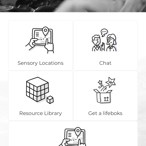 KultureCity app home screen shows five options: sensory locations, chat, resource library, get a lifeboks, suggest a sensory location.