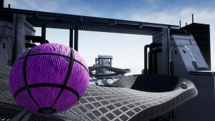 a ball moving on a twisted track in the mindball video game.