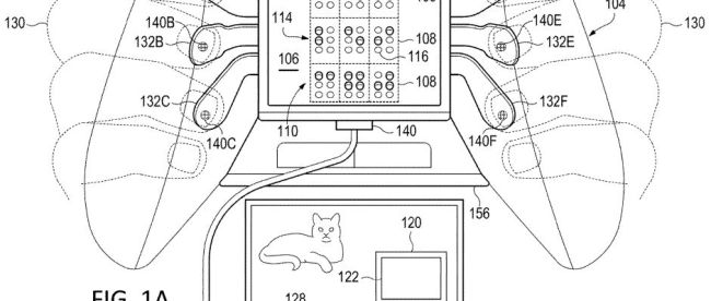 Diagram of proposed braille controller from patent document showing paddles on the back that a blind gamer will press to provide input to the game and also receive haptic feedback. Three paddles on each side are shown in this diagram.