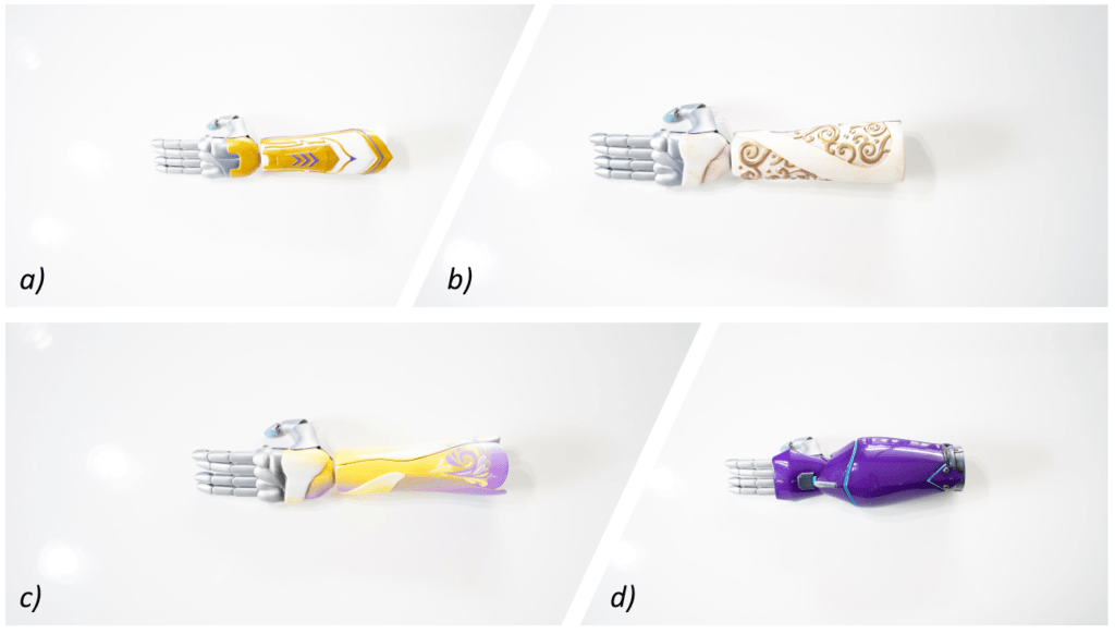 3D-printed limbs with interchangeable artistic covers from Limbitless Solutions at the University of Central Florida. (a) Warrior class, (b) Ethereal class, (c) Serenity class, and (d) Shadow class.