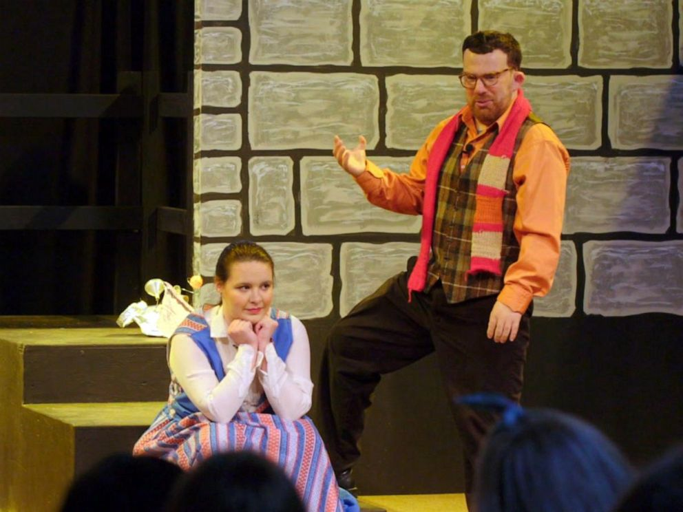 Two actors seen on stage during Beauty And The Beast at the Center For Discovery