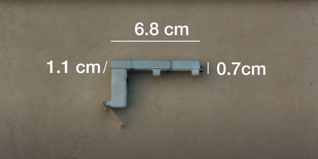 image shows dimensions of transcribe glass - 6.8cm wide and .7cm deep. The part that attaches to your glasses extends to 1.1 cm