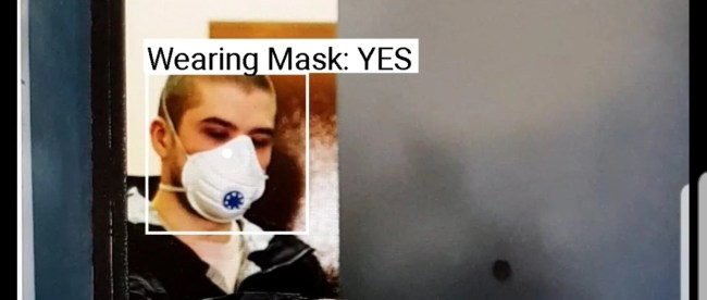audible vision app detecting a mask on a man. It displays label
