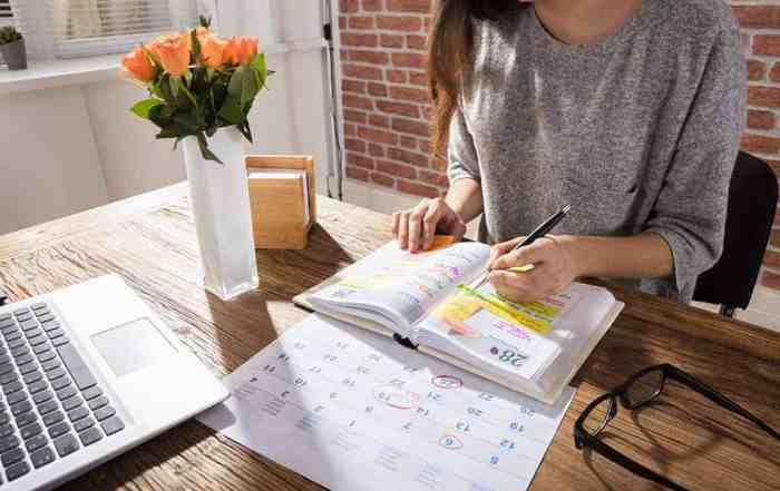 A female professional planning her working day using a paper diary and a laptop