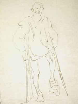 """Dessin N°93 de Boris Taslitzky """" Un blessé du bombardement """""""