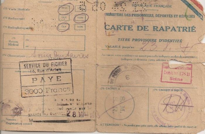 Guy Chabridon, né à Ruffec en juin 1914, est déporté le 27 janvier 1944. Il porte le numéro 43520. De retour en France, au passage de la frontière, et après un premier interrogatoire par la police militaire, il a reçu une carte de rapatrié. Celle-ci lui donnera droit à des vêtements, des chaussures, un viatique, quand il rentrera chez lui (Gentilly).