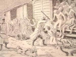 """Dessin d'Auguste Favier : """"Arrivée à Buchenwald. Débarquement sous les projecteurs, sans chaussures et souvent sans vêtements , dans la neige par -25° de froid"""""""