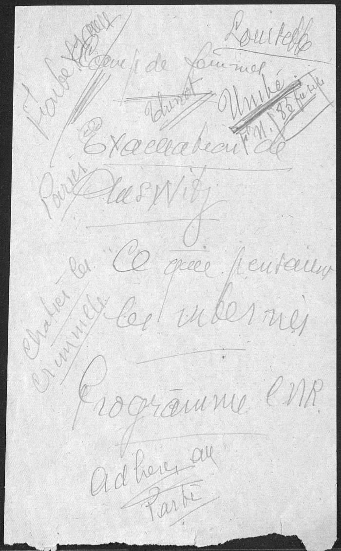 Eléments manuscrits discours Marcel Paul