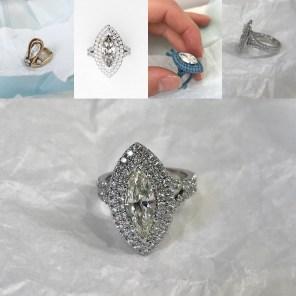 Custom Made Double Halo Diamond Marquise Ring