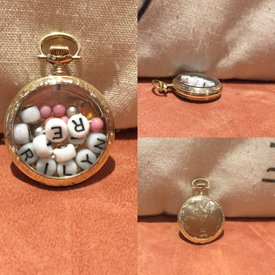 Heirloom Baby Bracelet inside a vintage Pocket Watch