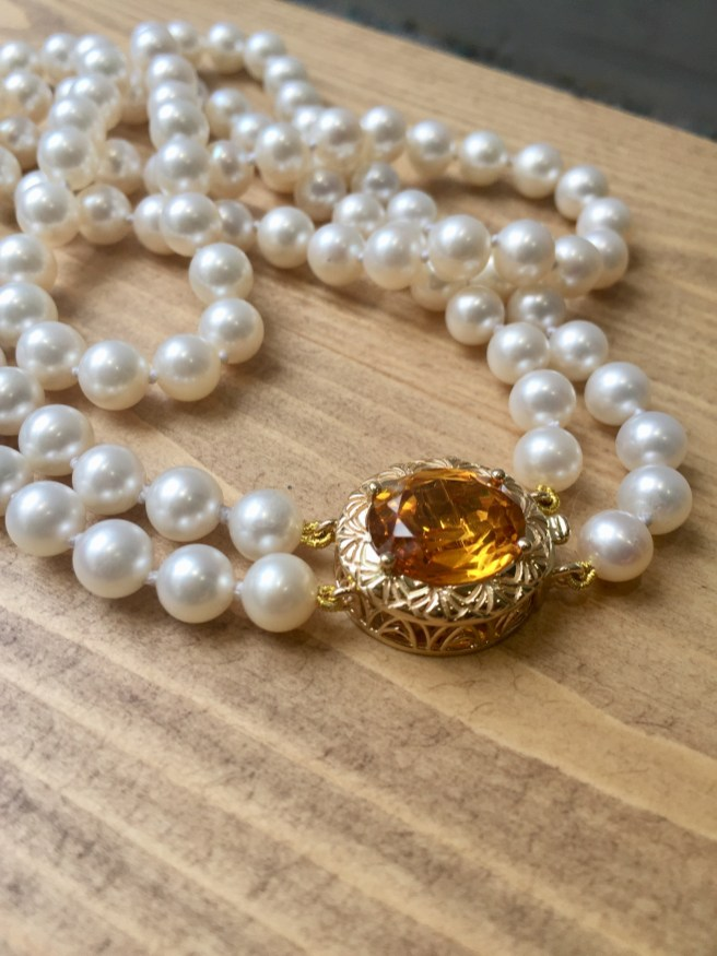 Custom Made Citrine Catch For Double Strand Of Pearls