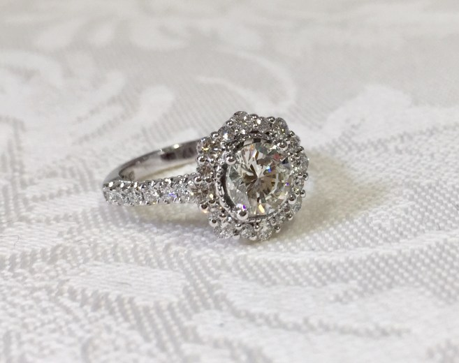 Custom Halo Diamond Ring With Diamonds Featured Down the Sides