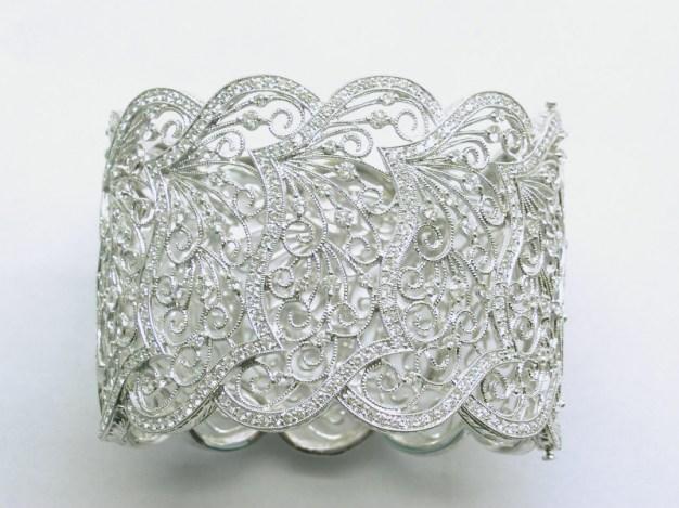 b-171b Wide filagree diamond cuff bracelet,18K white gold