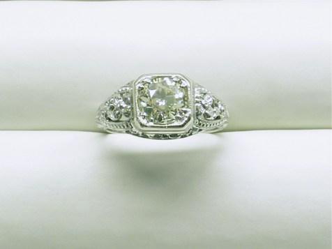 CJ 108 Ladies Vintage Filagree Diamond Engagement Ring, 14K White Gold