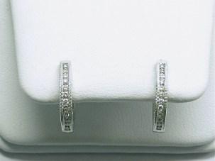 e-941 Diamond hoop earrings with filagree, 18K white gold