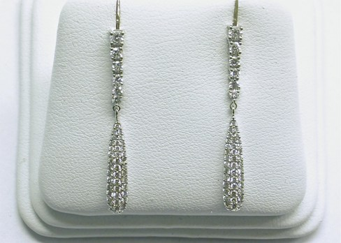 e-965a Hanging diamond earrings, 18K white gold