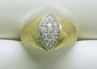 gd-2282 Estate diamond marquise shape cluster ring, 14K yellow gold