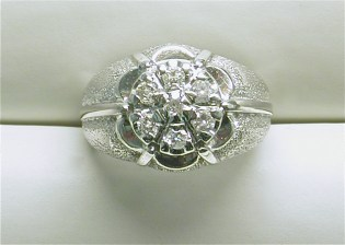 gd-2328 Mens cluster ring with 6 round diamonds, 14K white gold