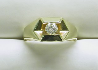 gd-2337 Solitaire diamond ring ,14K yellow gold