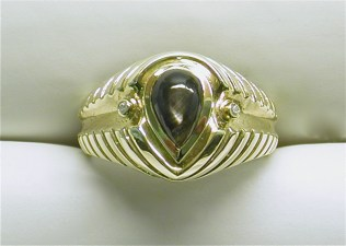 gd-2343 Pear shaped black star sapphire mens ring, 14K yellow gold