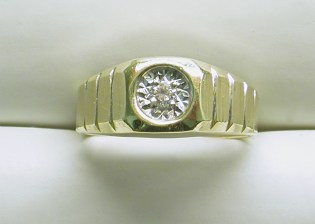 gd-2332 Mens diamond ring, 14K two tone gold