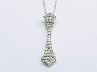 p-207 Flexible linear style diamond pendant, 18K white gold