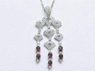 p-308 Pendant with rubies & diamonds, 18K white gold