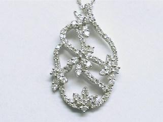 p-310 Free form diamond pendant, 18K white gold