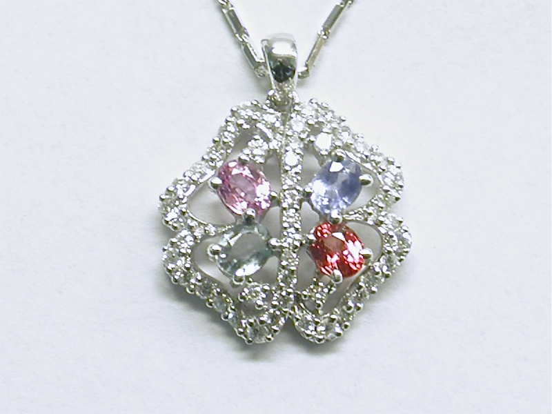 p-325 Diamond pendant with colored sapphires, 18K white gold